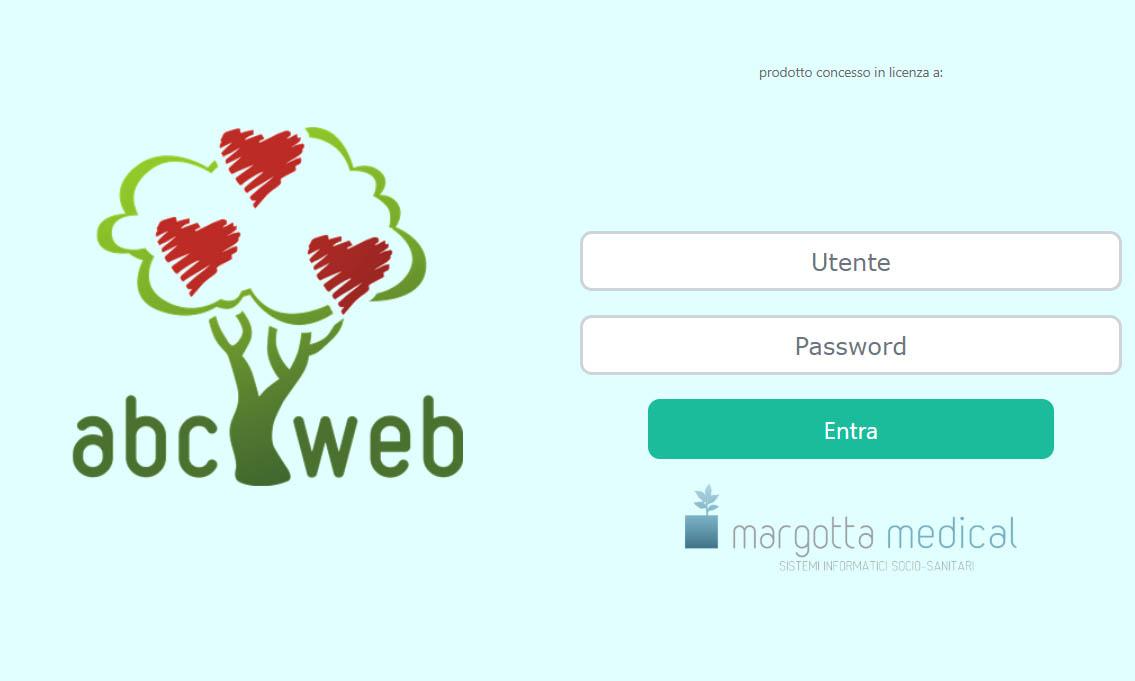 schermata login abc web gestionale strutture socio sanitarie