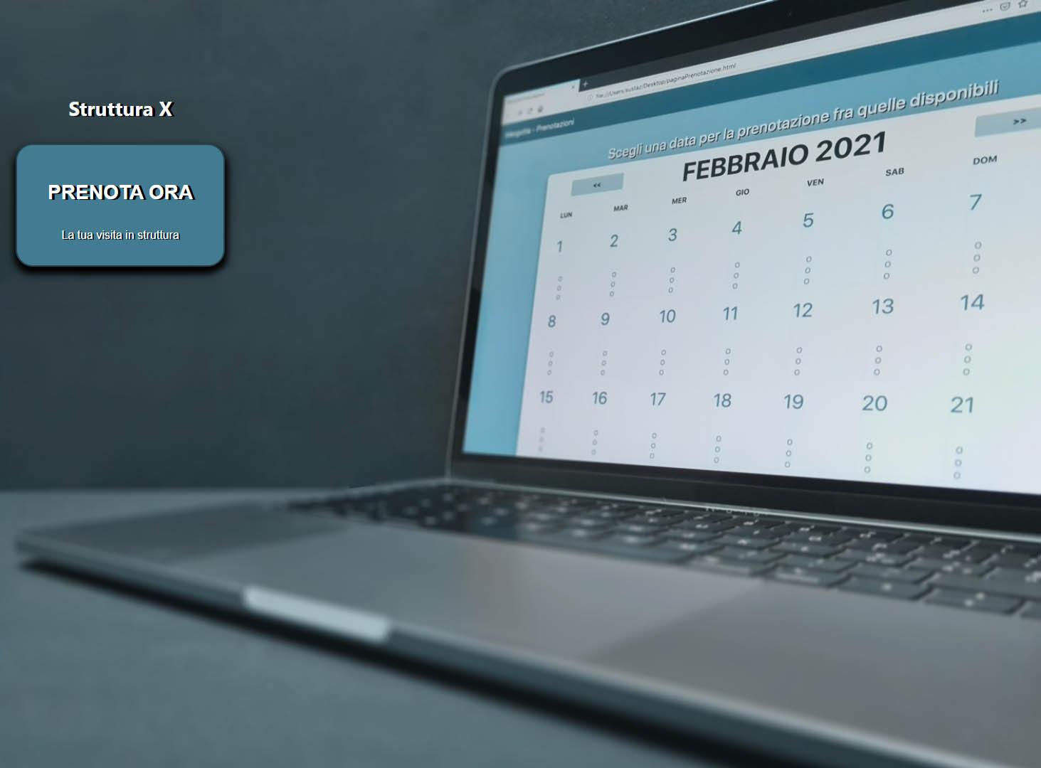 Vengo da te, software prenotazioni visite schermata calendario